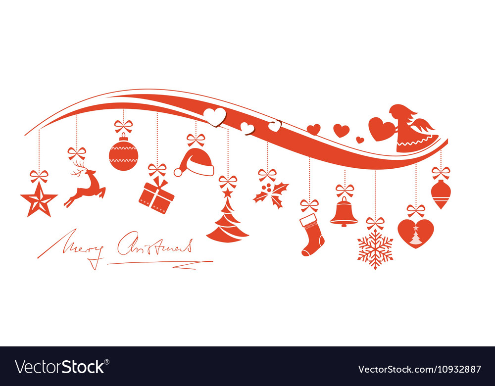 Christmas Ornament Border With Angel