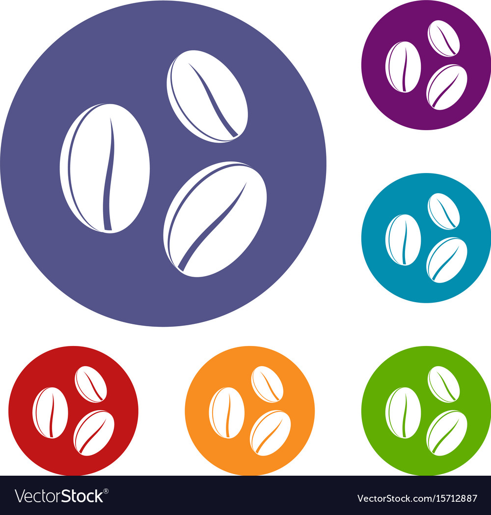 Coffee beans icons set vector image