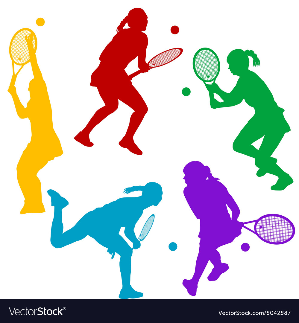 Colorful tenis player silhouettes