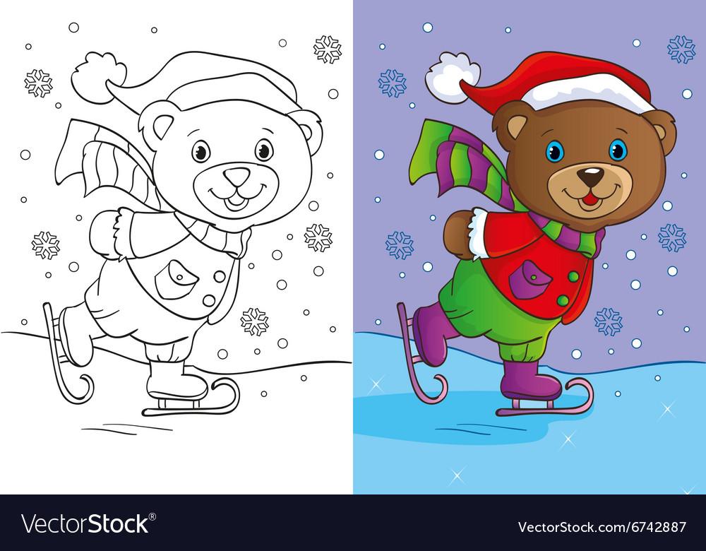 - Coloring Book Of Cute Teddy Bear Skates Royalty Free Vector