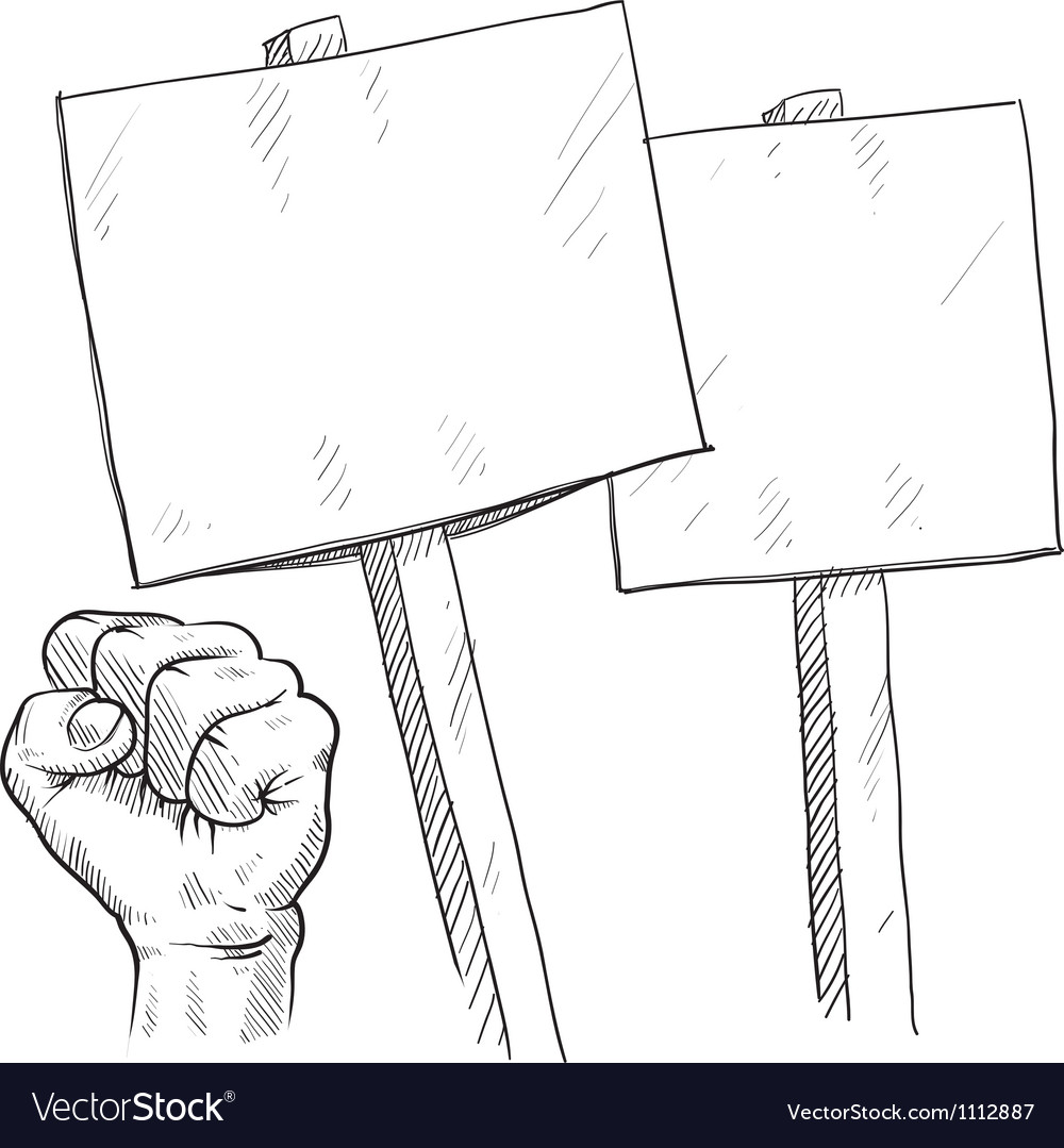 Doodle protest signs fist vector image