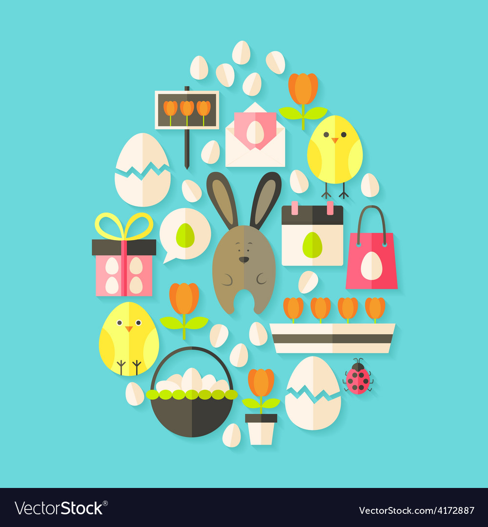 Easter holiday Flat Icons Set Egg shaped with