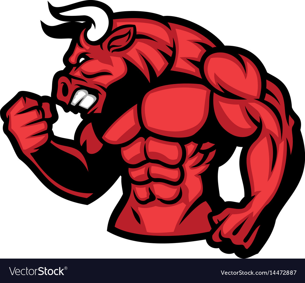 Huge muscle of red bull vector image