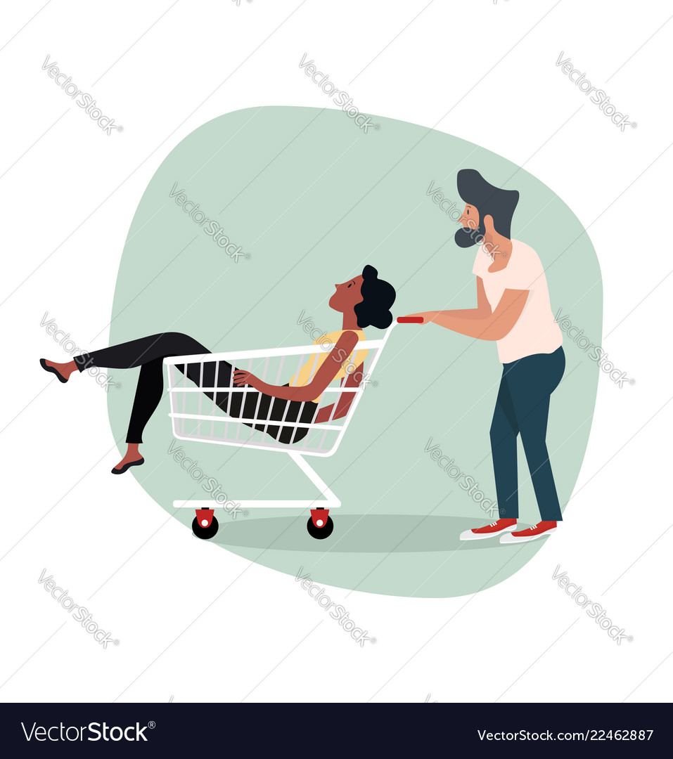 Man with woman sitting in shopping cart