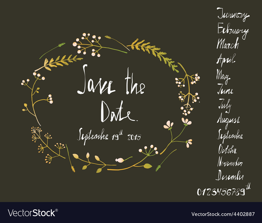 Rustic wreath save the date invitation card with vector image stopboris Image collections