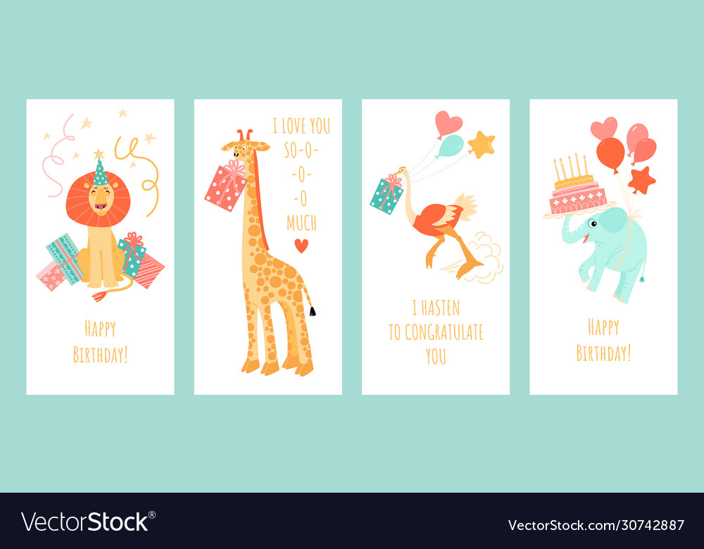 Set greeting card templates with funny animals