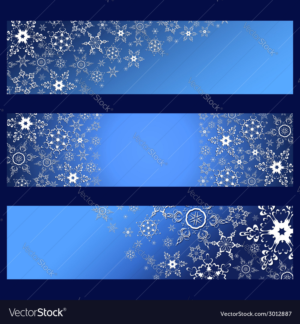 Set of banners with decorative 3d snowflakes