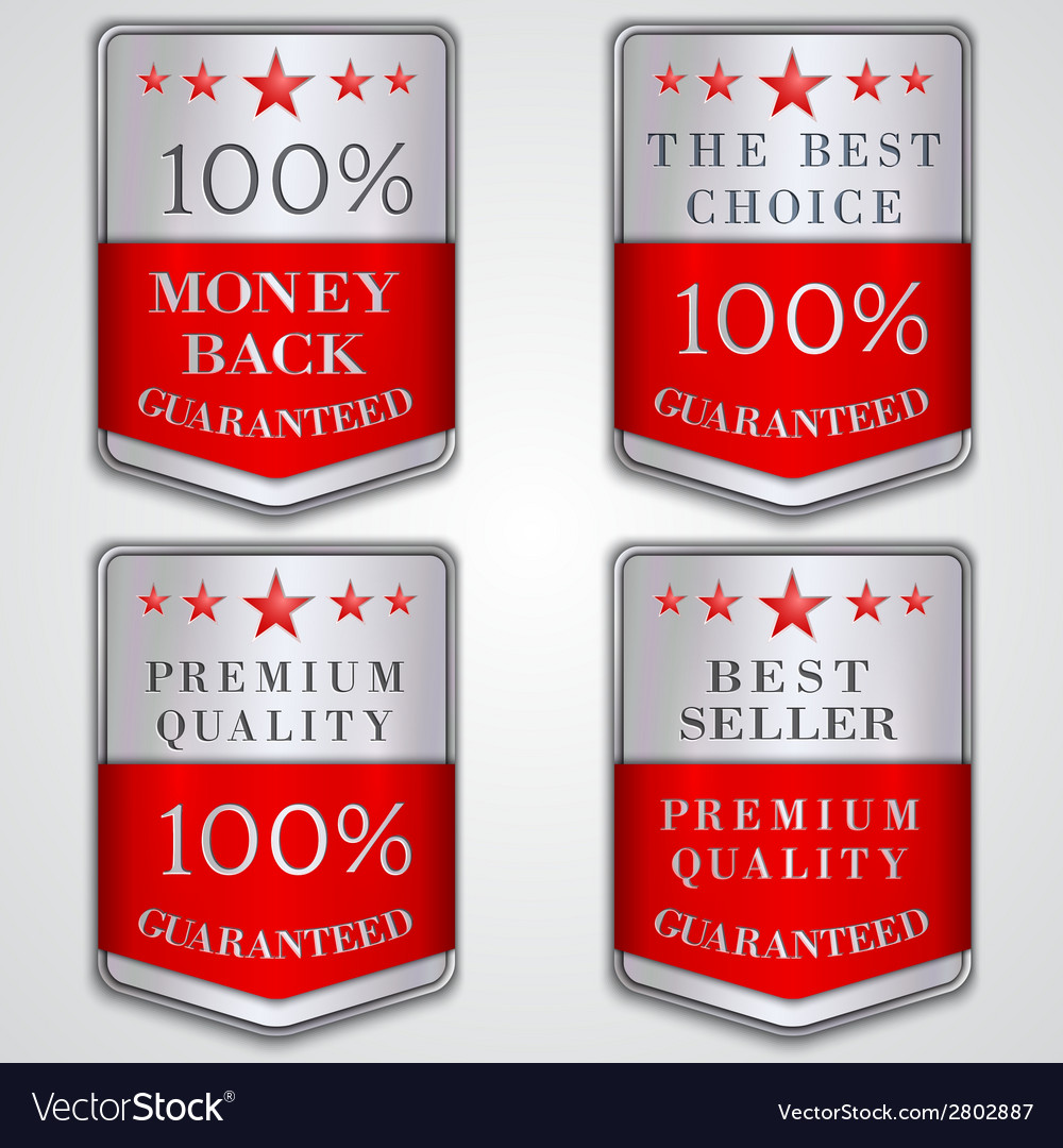 Silver badge label set with premium quality and vector image