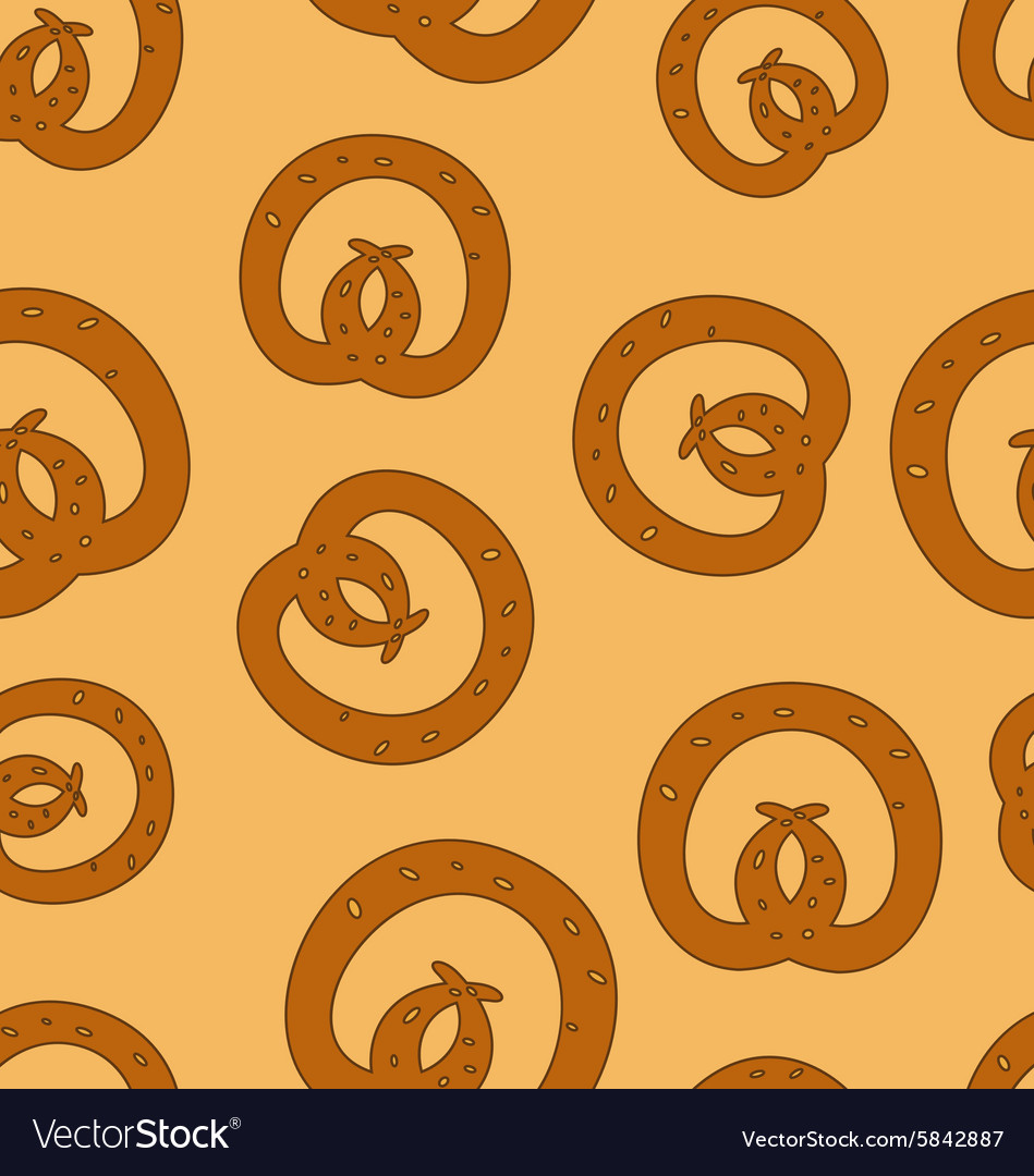 Traditional baked pretzels doodle dotted seamless