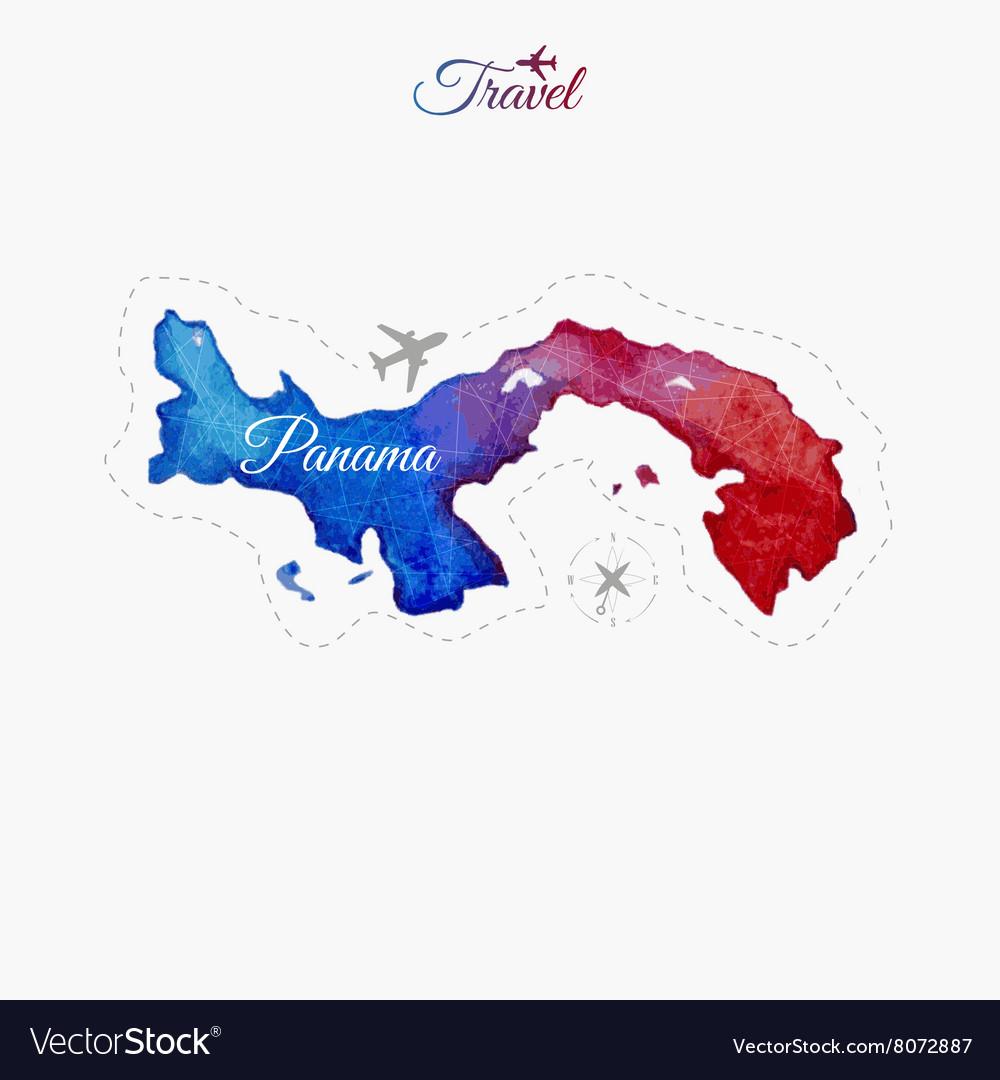 Panama On Map Of World.Travel Around The World Panama Watercolor Map Vector Image