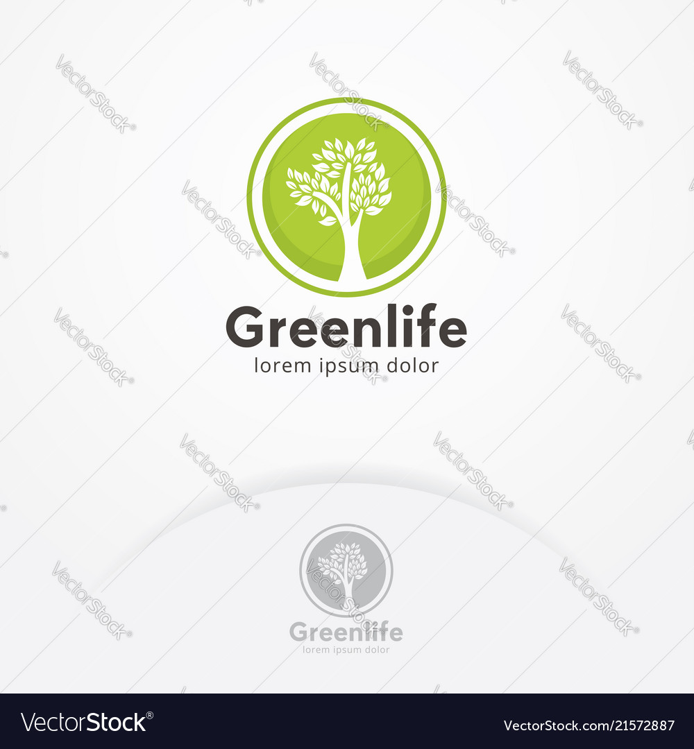 Tree logo circle shape design template