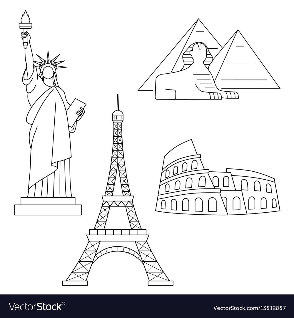 World landmarks eiffel tower statue of liberty