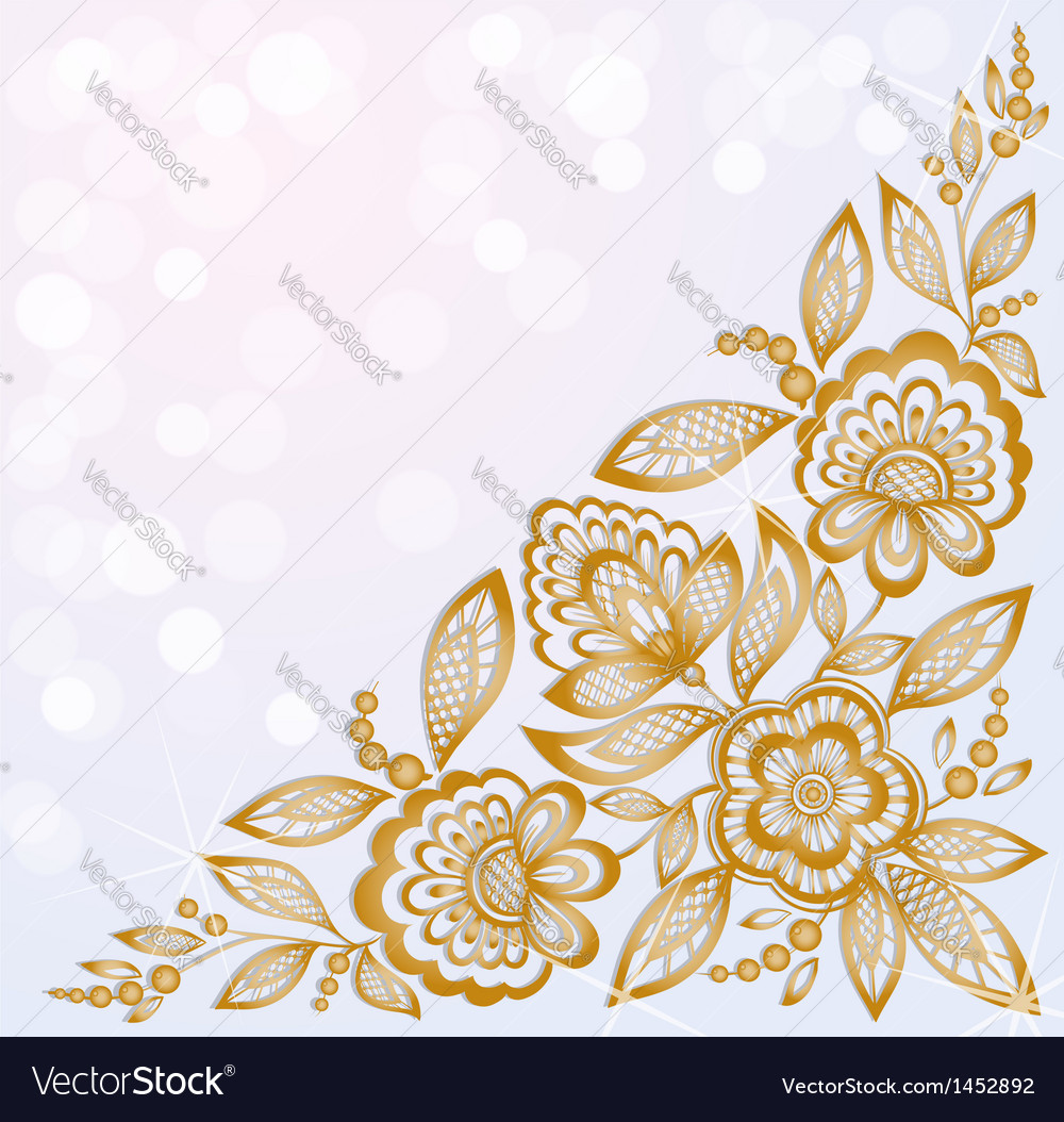 Beautiful carved corner gold flowers