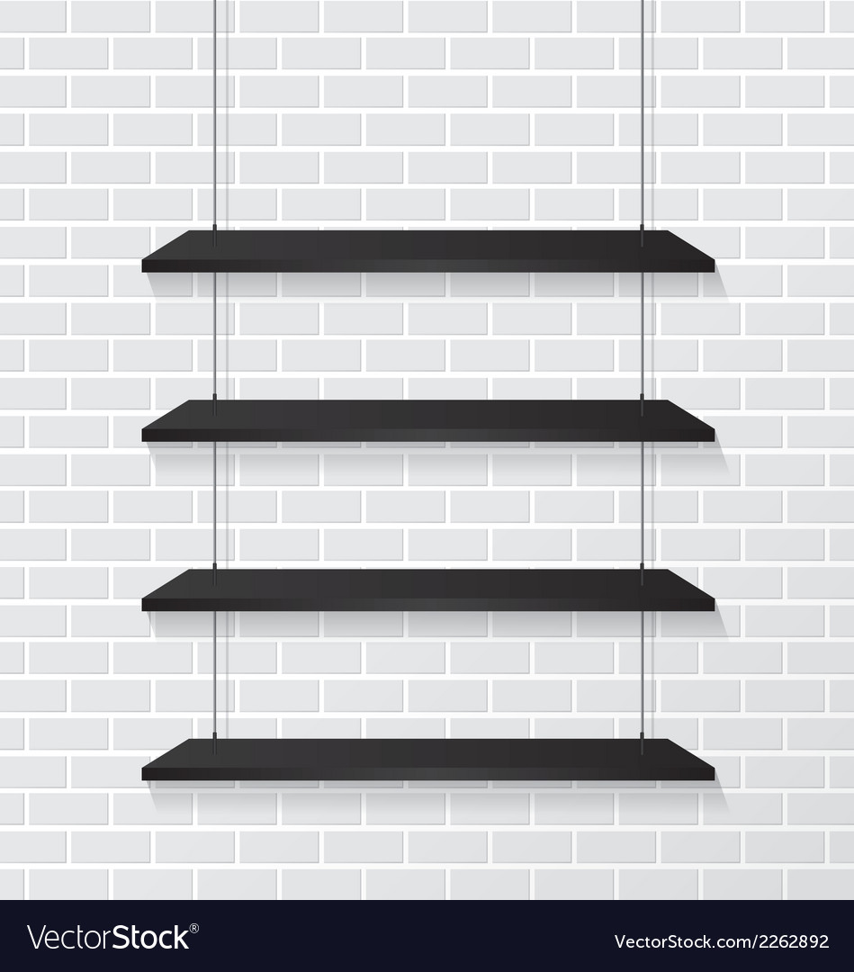 Brick Wall And Black Shelves Vector Image