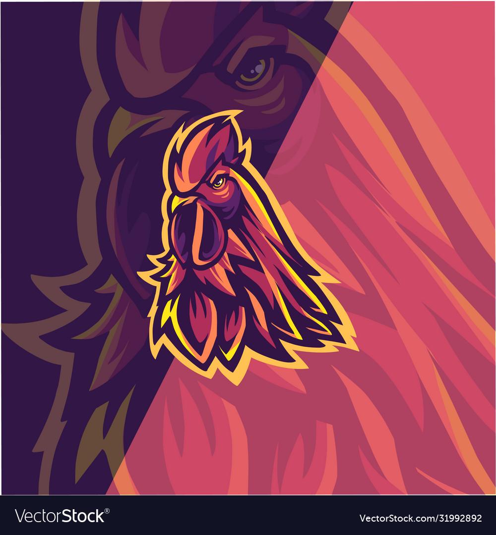 Chicken esport mascot logo design