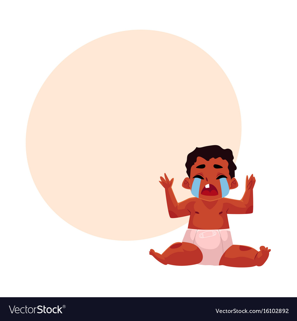 Cute black african american baby child in diaper vector image