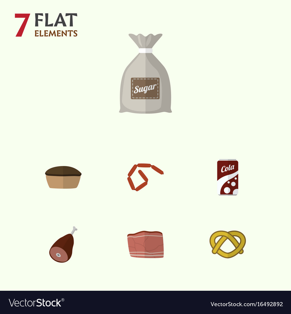 Flat icon meal set of bratwurst sack fizzy drink