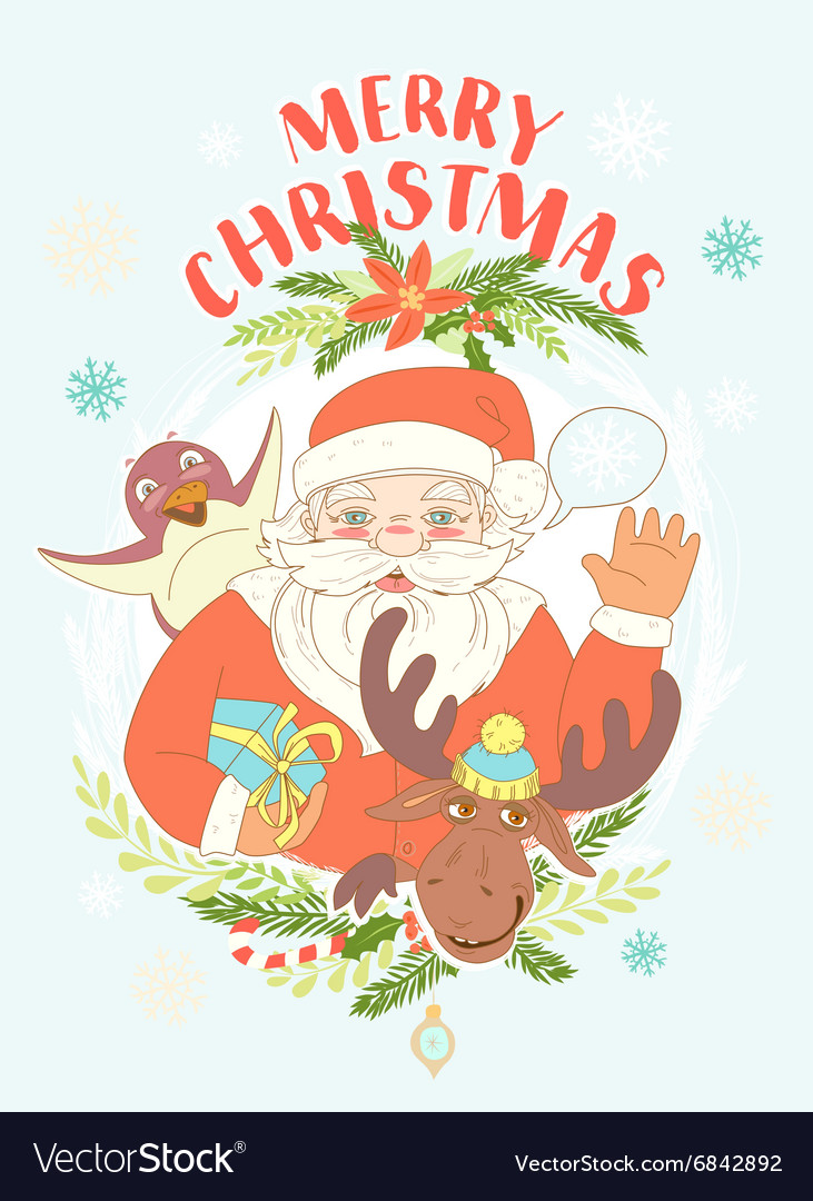 Funny Merry Christmas card with Santa Claus