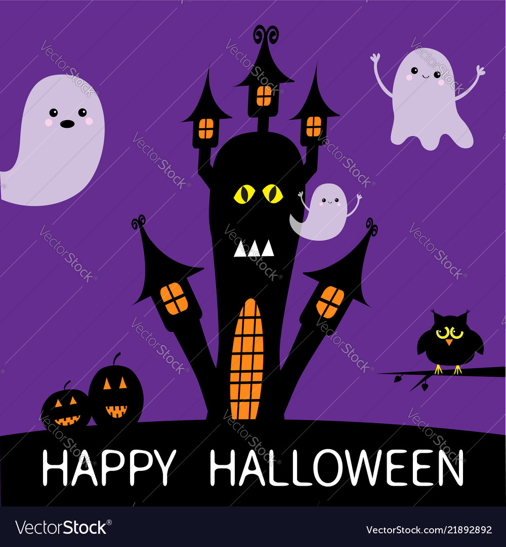 Halloween card haunted house silhouette with eyes