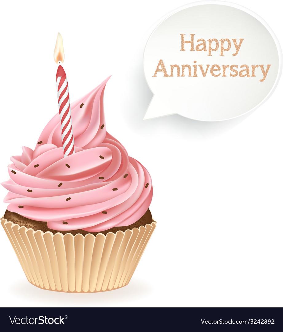 Happy Anniversary Cupcake Royalty Free Vector Image