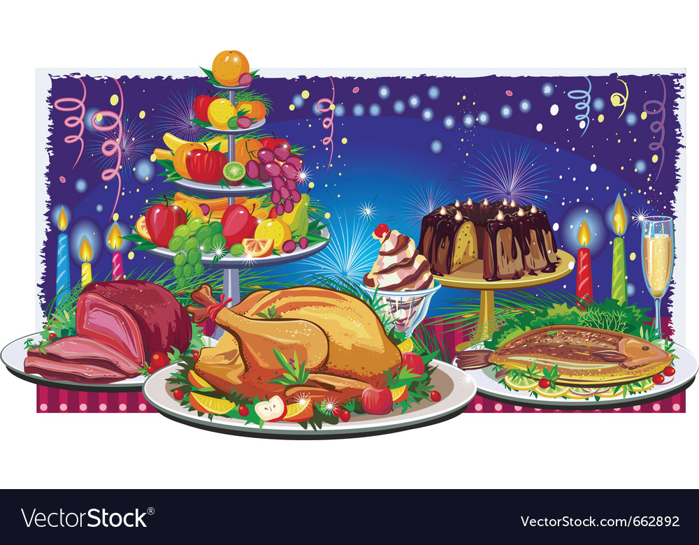 Holiday Dinner Royalty Free Vector Image Vectorstock