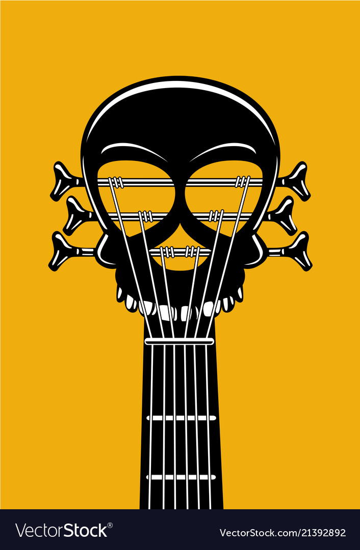 Rock and roll music poster guitar riff with skull