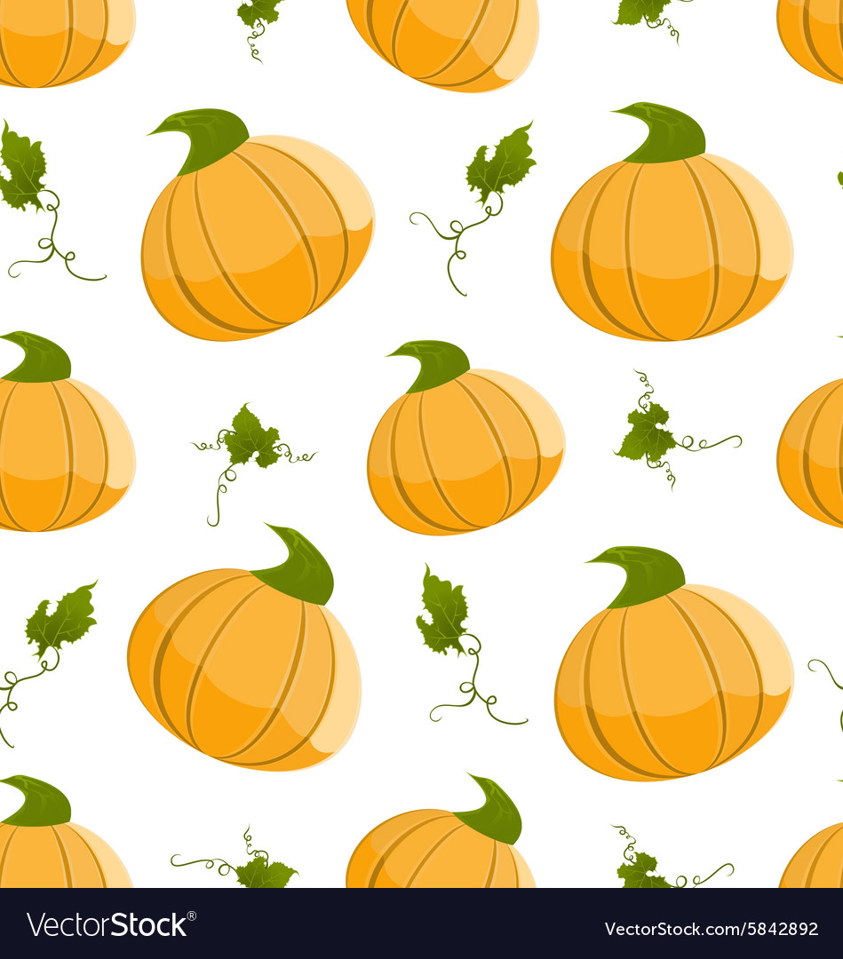 Seamless pattern with orange pumpkins and green
