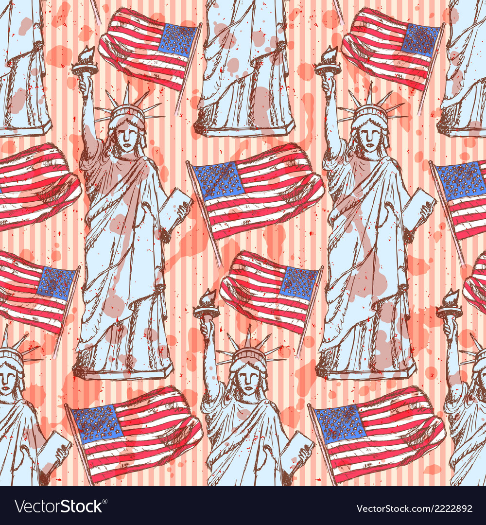 Sketch Statue of Liberty and flag vintage seamless