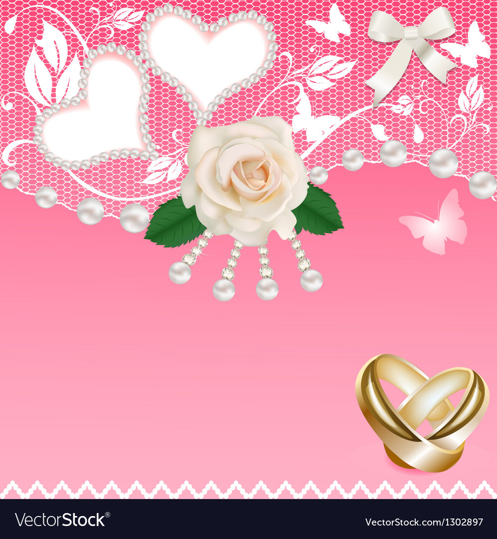 Background with heart rose wedding rings and pearl