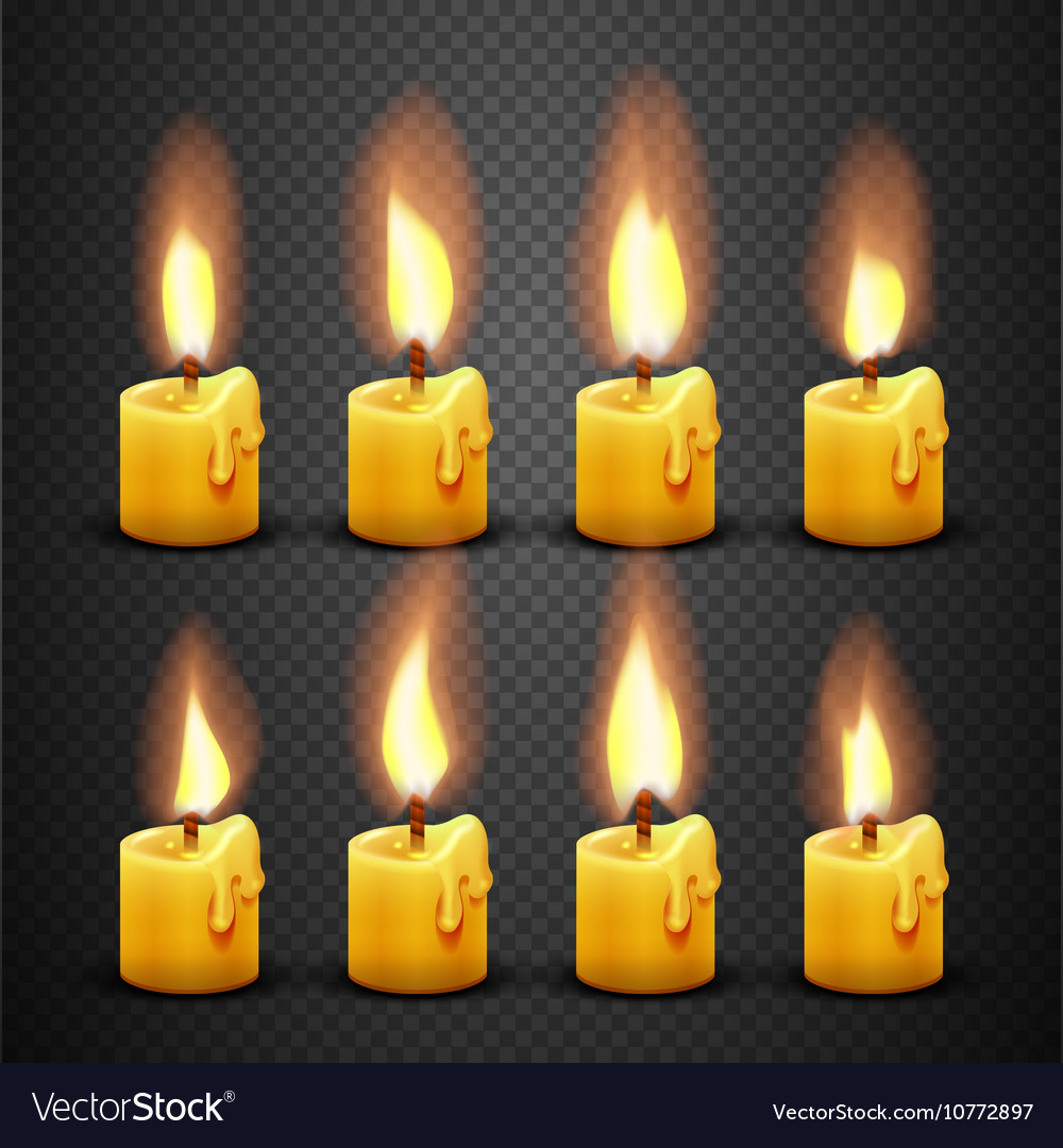 Candle with fire animation on transparent