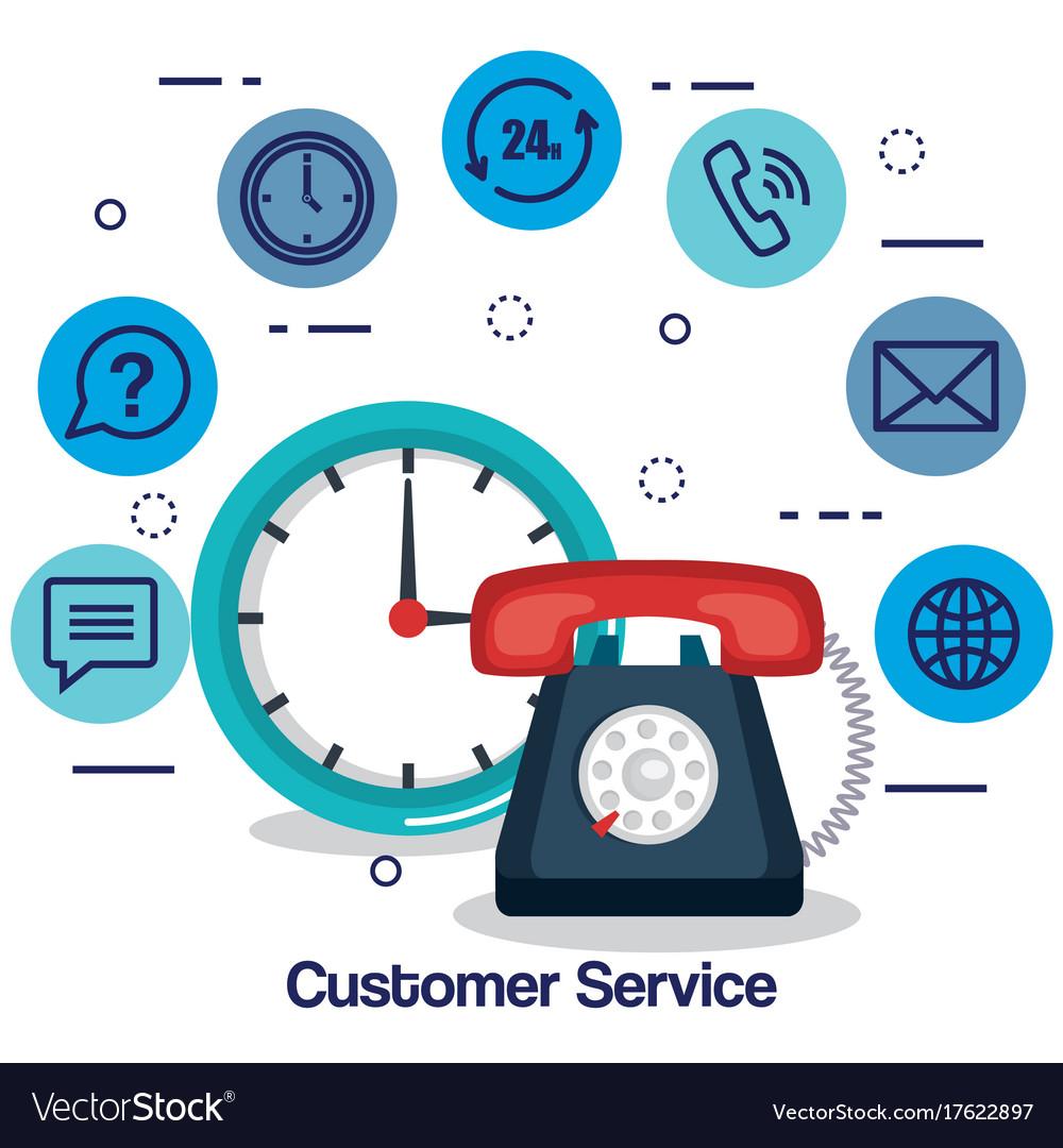 Customer service flat settings vector image