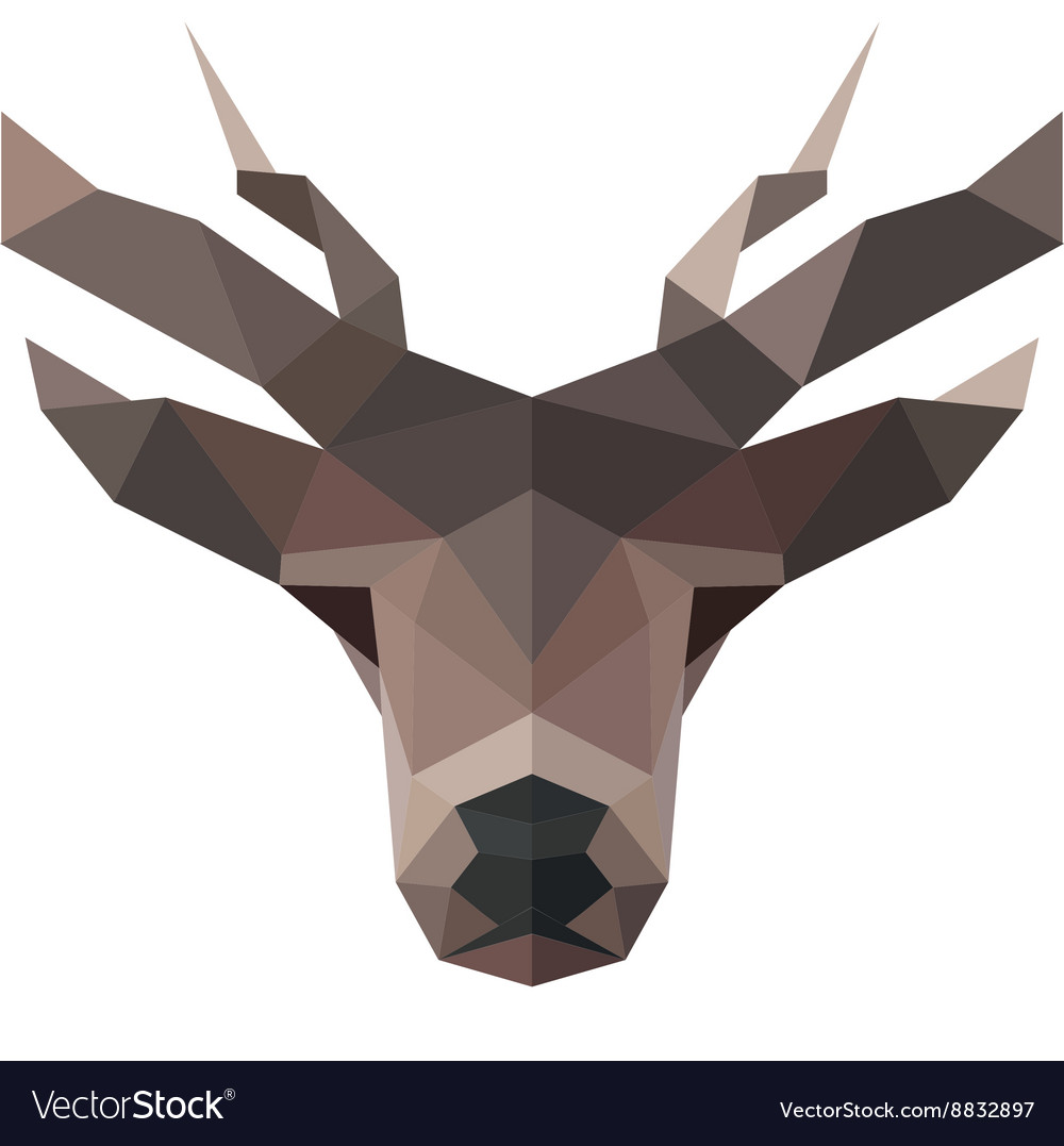 Deer polygons horned animal head logo
