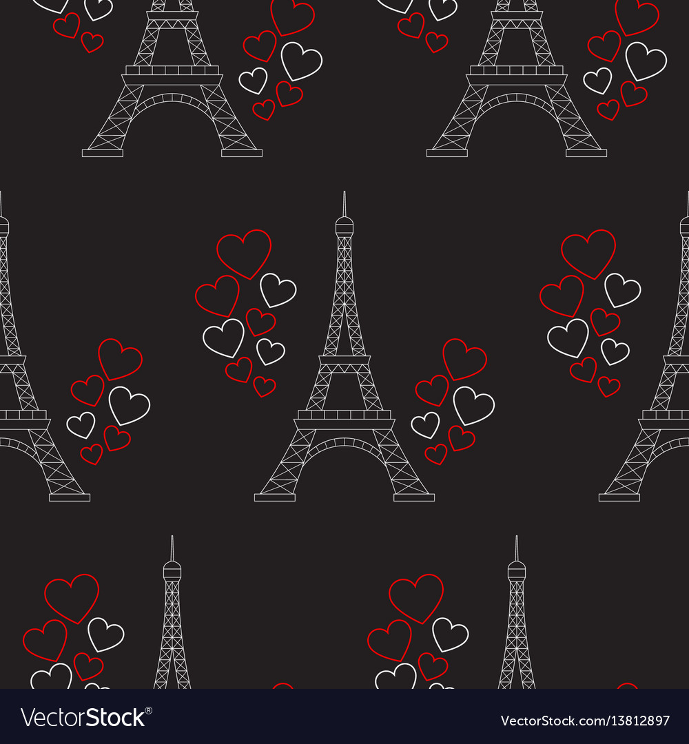 Eiffel tower and hearts seamless pattern
