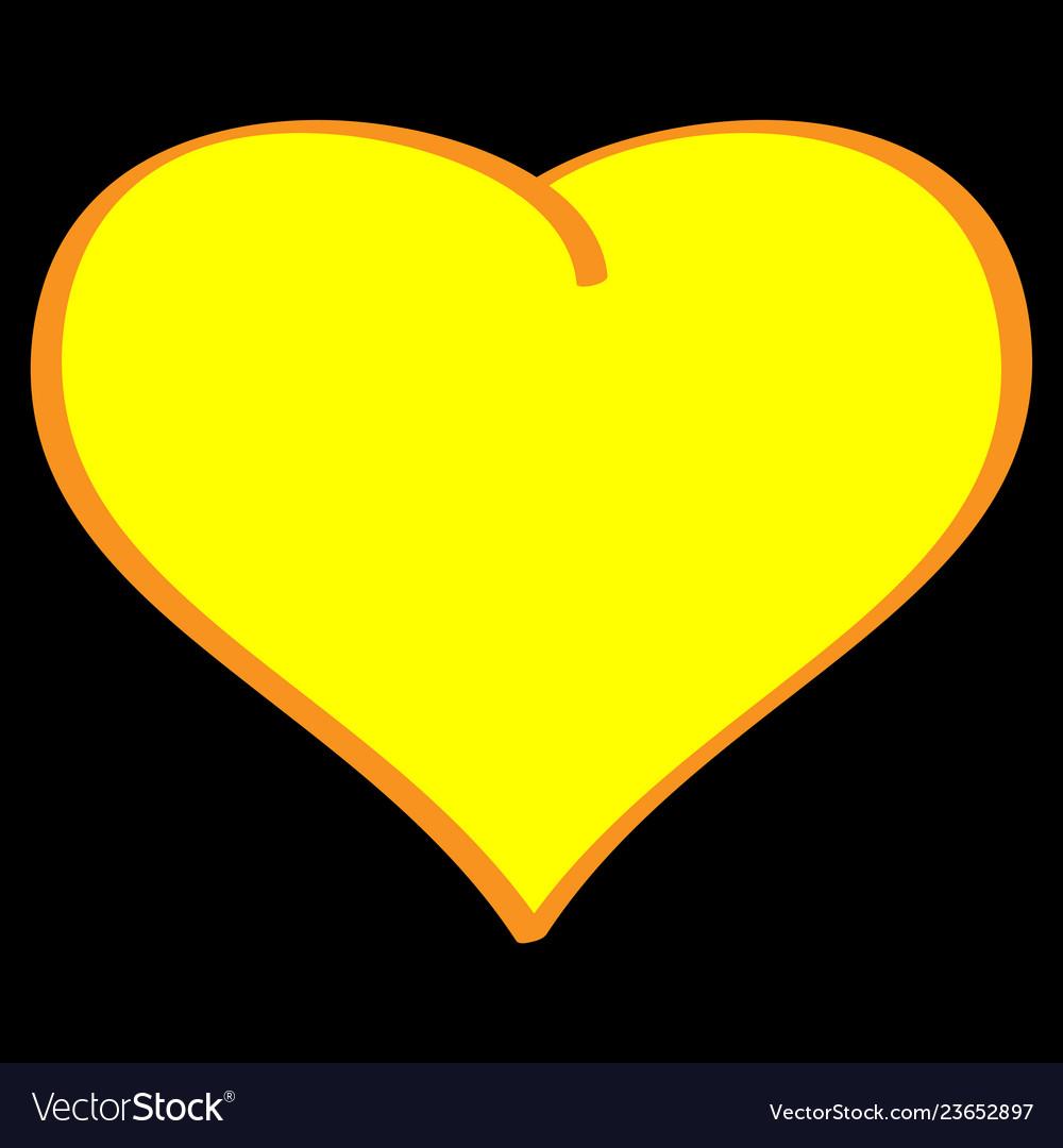 Gold heart on black background volume sign 612