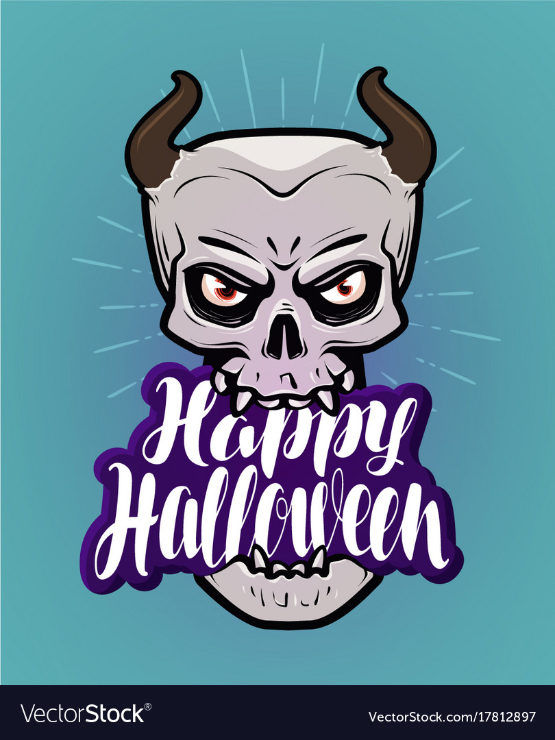 Happy halloween greeting card monster with horns