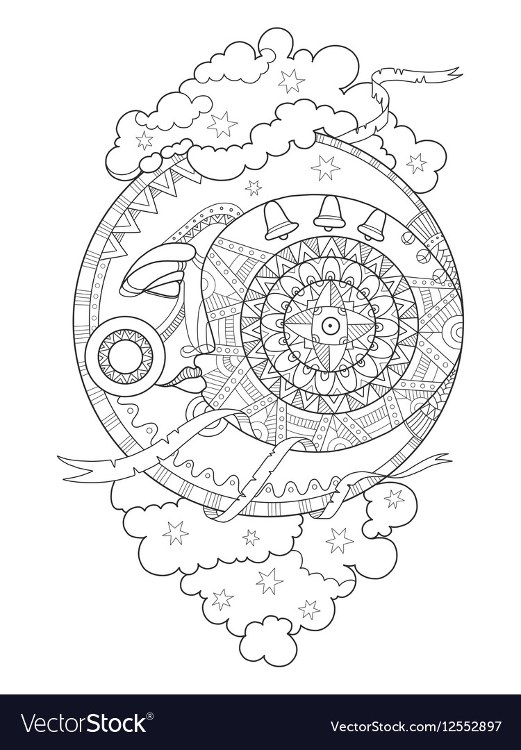 Moon with face coloring book