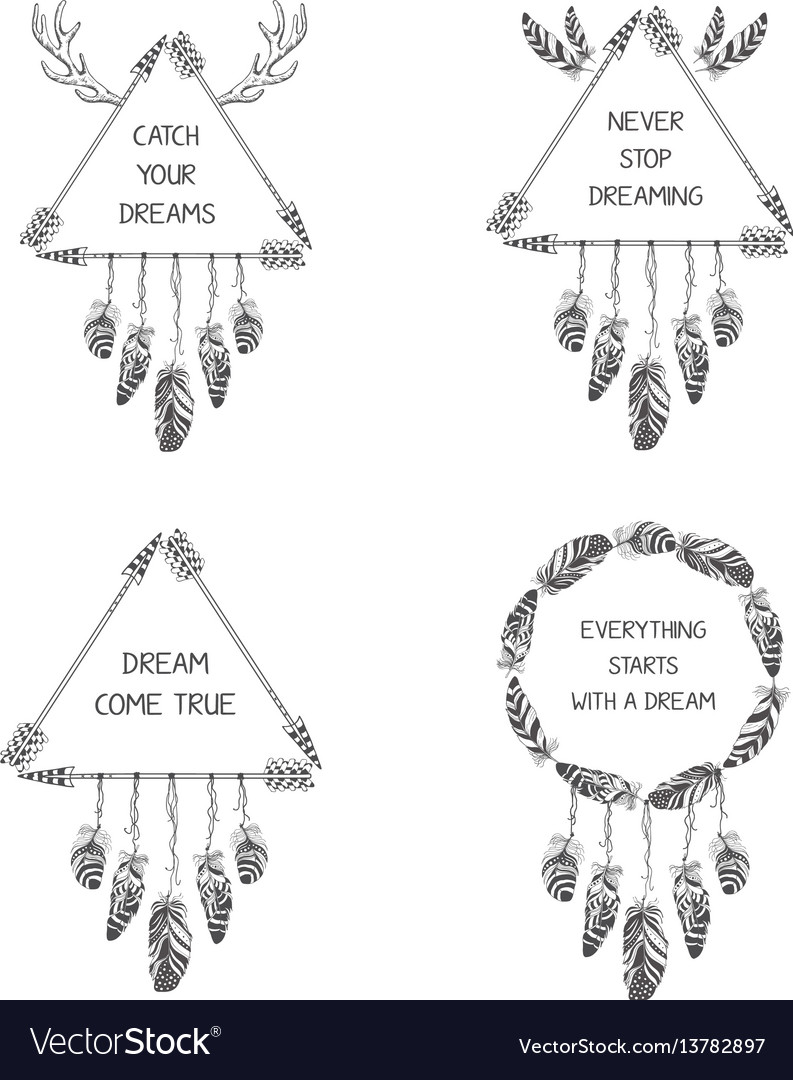 Set of hand drawn boho style design with arrow