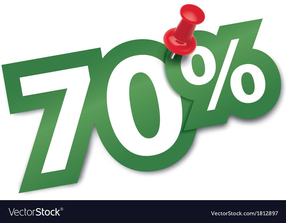 Seventy percent sticker vector image