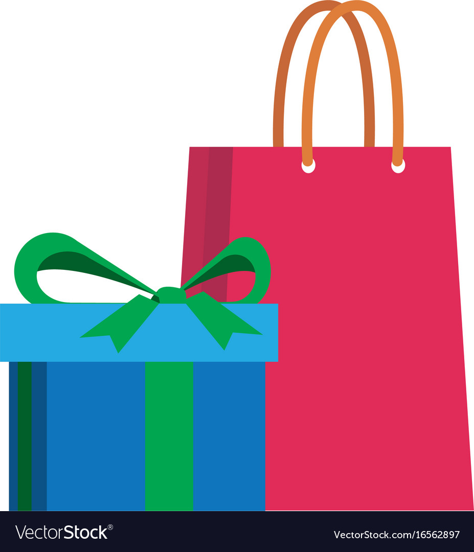 Shopping gift box paper bag vector image