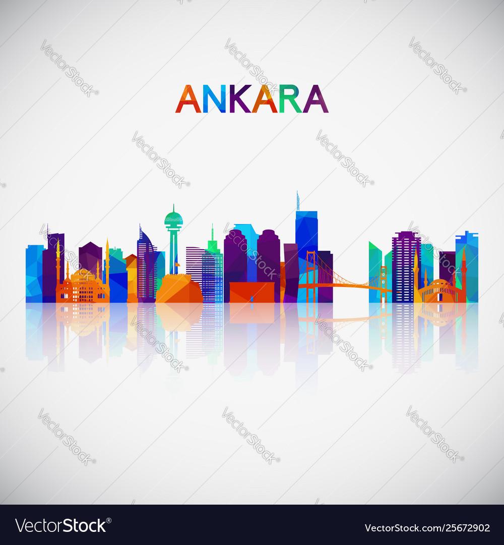 Ankara skyline silhouette in colorful geometric