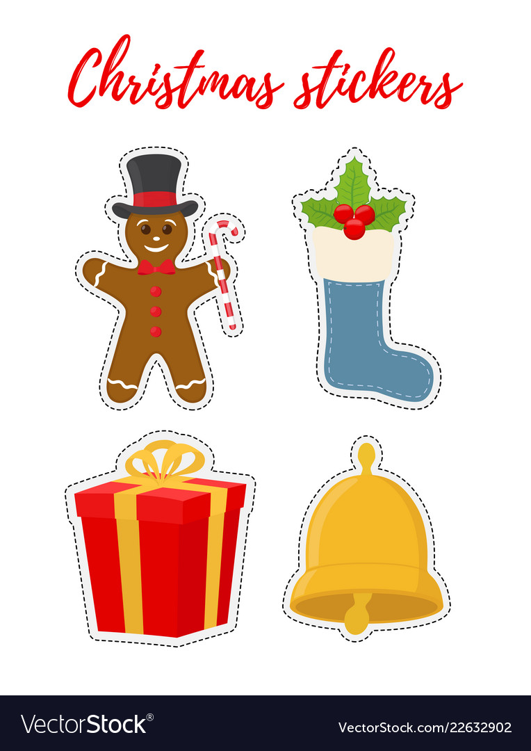 Christmas stickers in cartoon flat style