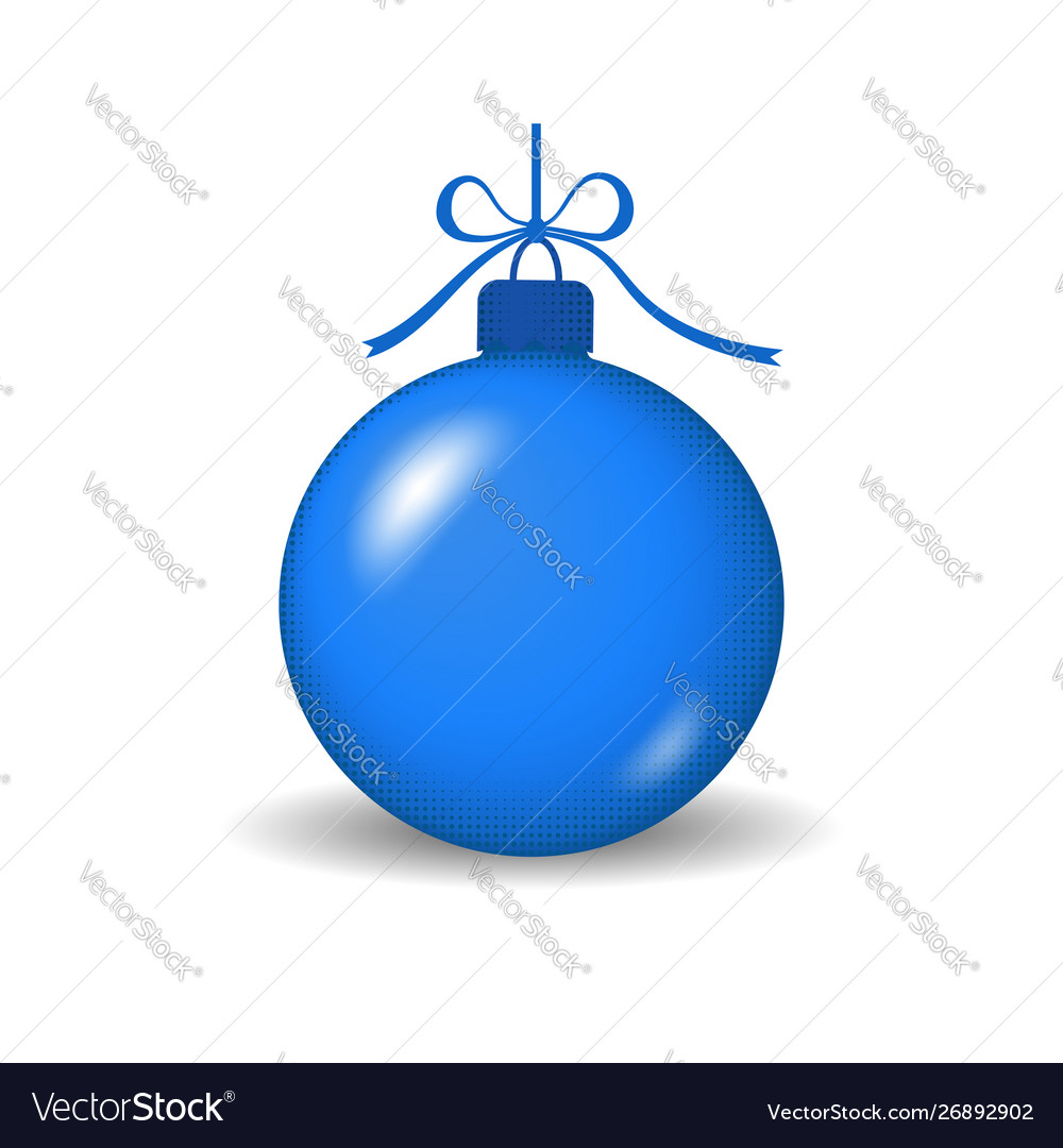 Christmas tree ball with ribbon bow blue bauble