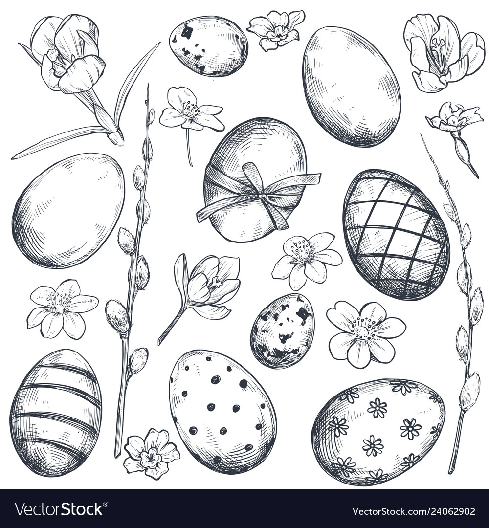 Collection of hand drawn ornate easter eggs