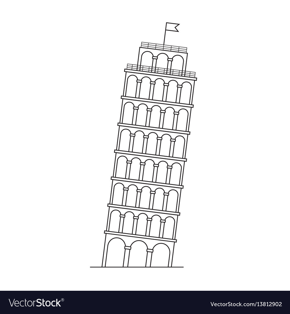 Leaning tower of pisa italy line icon