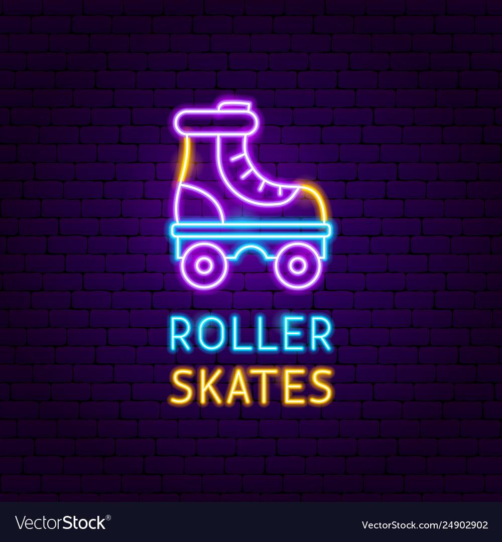 Retro roller skates neon label