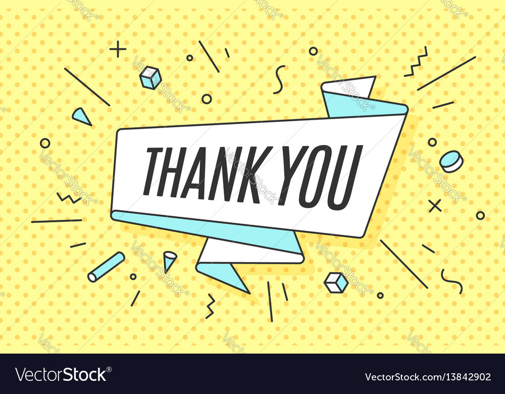Ribbon banner with text thank you vector image
