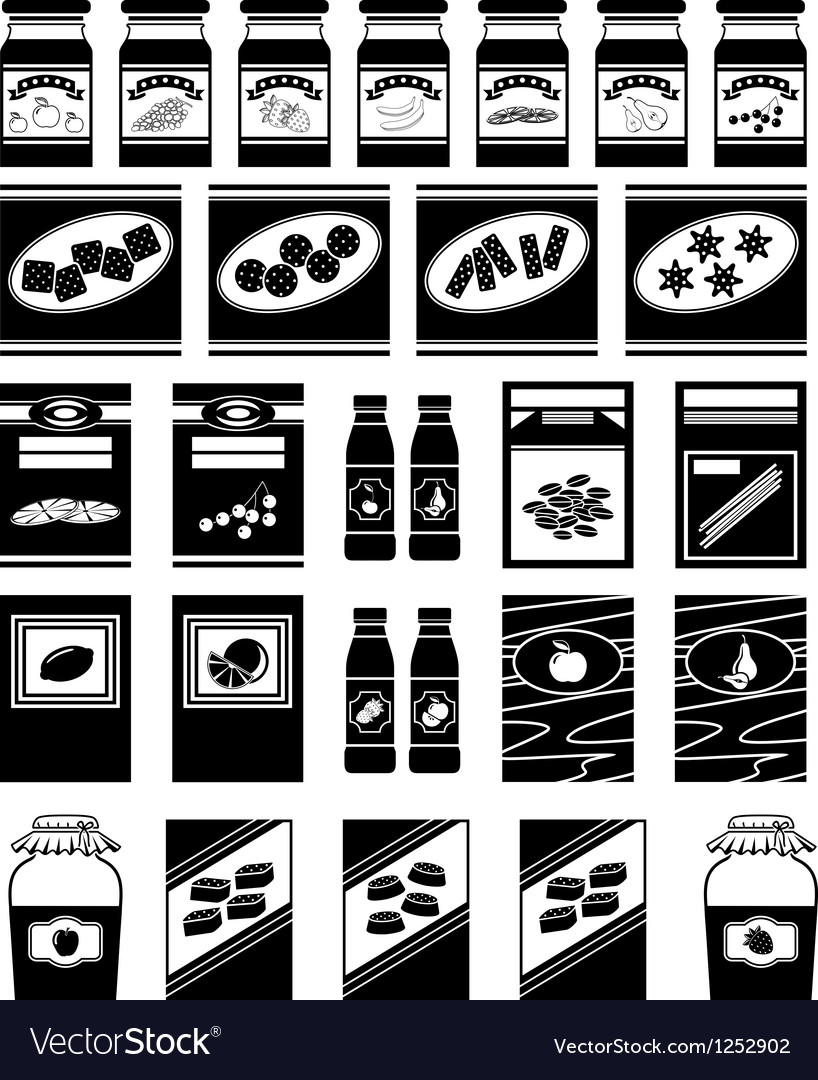 Set of packages for products vector image