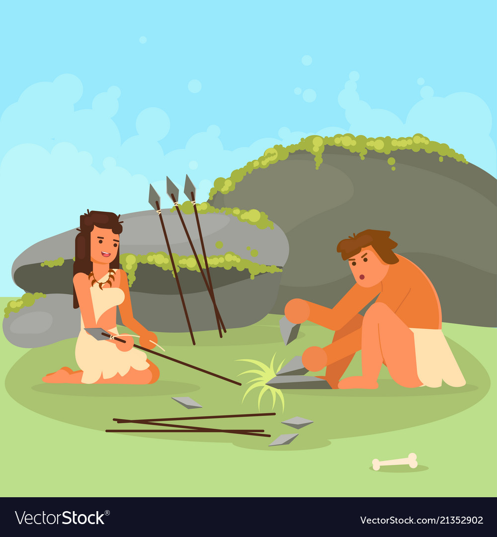 Stone age couple making spears