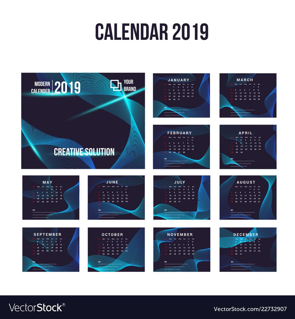 2019 modern calendar background collection