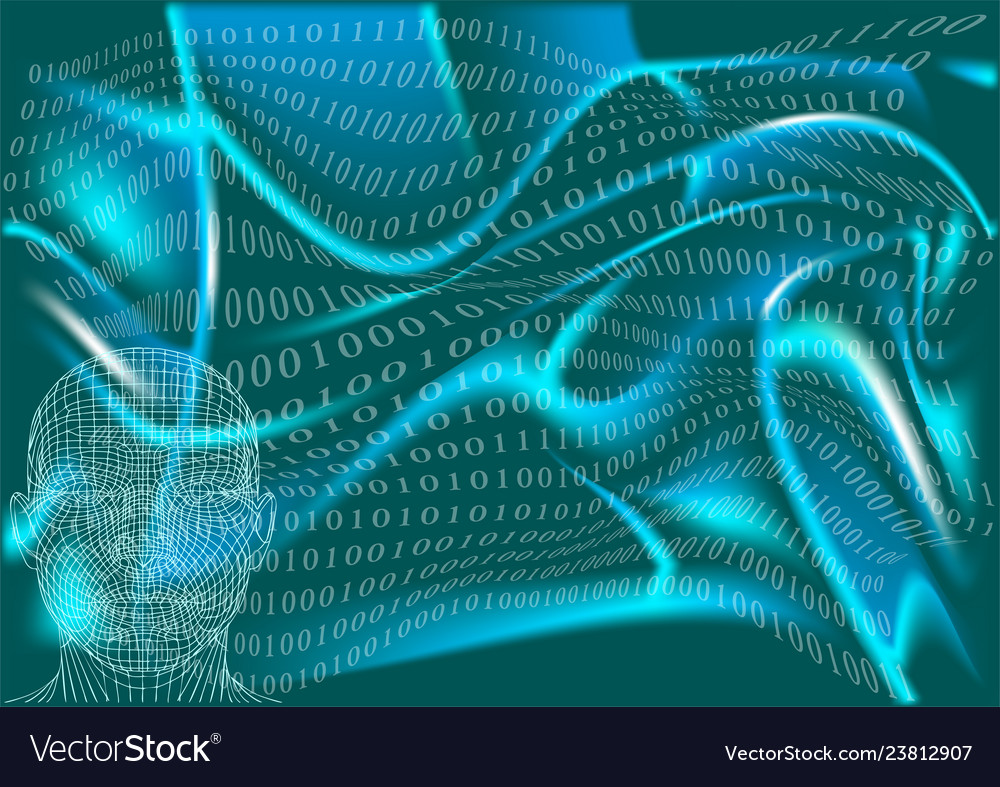 Abstract man in cyberspace
